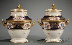 Pair of Regency Enamel Decorated and Parcel-gilt Porcelain Fruit Coolers