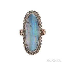 18kt Gold, Silver, Opal, and Diamond Ring