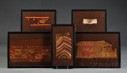 Five Polychrome Chancay Textile Fragments