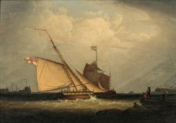 Robert Salmon (Anglo/American, 1775-1858)      British and German Vessels in a Stiff Breeze at the Mouth of a Harbor