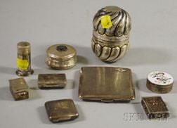 Nine Small Silver and Silver Plate Boxes and Cases