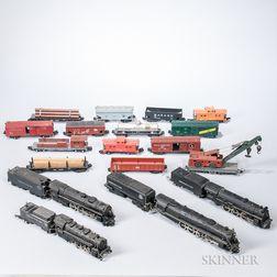Twenty-two American Flyer Locomotives, Tenders, and Cars
