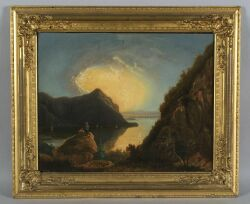 Attributed to George Gunther Hartwick, (American, active 1845-60)  Two Men Viewing a River Landscape.