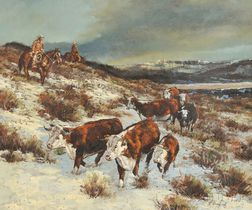 Attributed to John Stanford (American, 20th Century)      Cattle Drive.