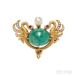 Art Nouveau 18kt Gold, Emerald, and Diamond Pendant/Brooch