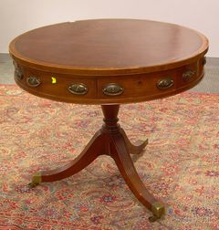 Georgian-style Circular Tooled Leather-inset Inlaid Mahogany Drum Table