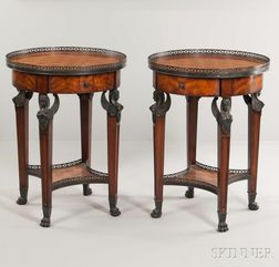 Pair of Theodore Alexander French Empire-style Parquetry Gueridons