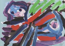 Karel Appel (Dutch/American, b. 1921)  Walking With my Bird