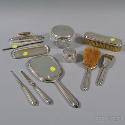 Ten-piece McChesney Sterling Silver-mounted Dresser Set