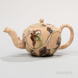 Staffordshire Buff Ground Earthenware Teapot and Cover