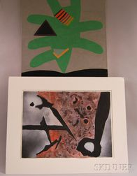 Tarrant Clements (American, b. 1944)      Two Abstract Works in Green and Red.