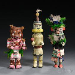 Three Southwest Polychrome Carved Wood Kachinas