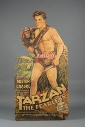 Tarzan, The Fearless   Chromolithograph Movie Theatre Lobby Stand-Up