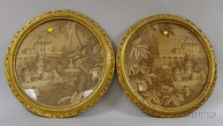 Five Framed 19th Century Needlework and Printed Panels