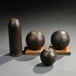 Four Civil War Inert Artillery Projectiles