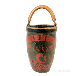 W.B. Brown Painted Leather Fire Bucket