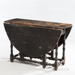 Black-painted William and Mary Gate-leg Table