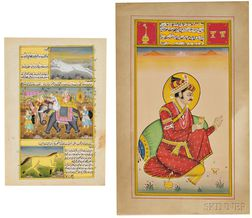 Two Folios of Miniature Paintings