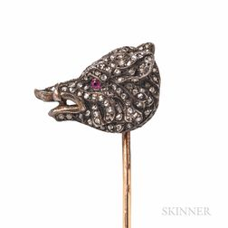 Antique Diamond Boar Stickpin