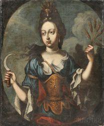 School of Pierre Mignard (French, 1612-1695)      Mademoiselle de la Fontaine as Demeter (Ceres)
