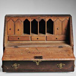 Brown-stained Pine Slant-lid Tabletop Desk