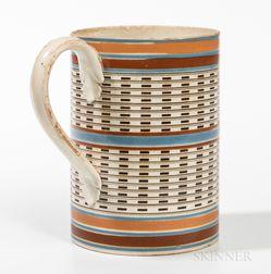Mocha Quart Creamware Engine-turned Mug