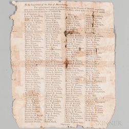 Abolitionist Broadside. To the Legislature of the State of Massachusetts.