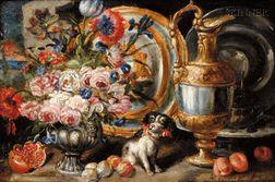 Manner of Abraham Brueghel (Flemish, 1631-1690)      Ornate Still Life with Lap Dog