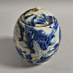 Blue and White Covered Jar