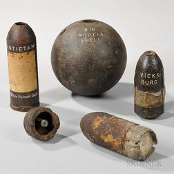 Five Civil War Artillery Projectiles