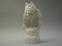 Asian-style Reticulated White Porcelain Fish.