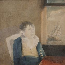 American School, 19th Century      Portrait of a Schoolboy Seated Beside a Window, a Ship Heading Out to Sea.