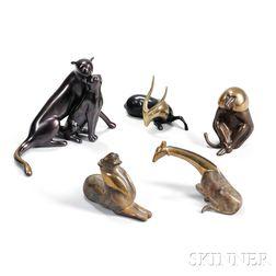 Five Loet Vanderveen (1921-2015) Animal Sculptures
