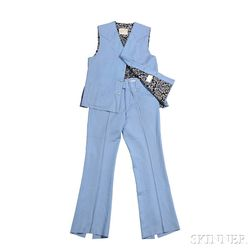Carl Smith     Light Blue Nudie Suit Vest and Pants
