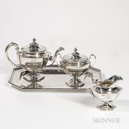 Three-piece Shreve, Crump & Low Sterling Silver Tea Service with Associated Sterling Silver Tray