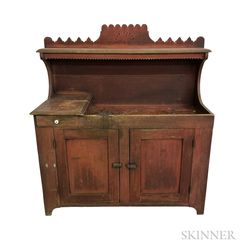 Country Victorian Red-painted and Carved Maple Dry Sink