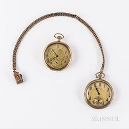 Two 14kt Gold American Open-face Watches