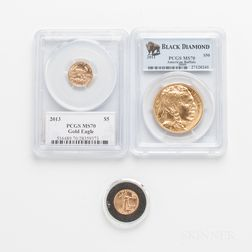 2011 $50 American Gold Buffalo One-ounce Coin, PCGS MS70, and Two 2013 $5 American Gold Eagles.     Estimate $1,200-1,500