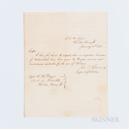 Hascall, H.A., Autograph Letter Signed, 14 January 1862.