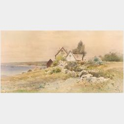 Frederick Dickinson Williams (American, 1829-1915)  Lot of Two Works Including:  Cottage on the Shore and Spring Pastures