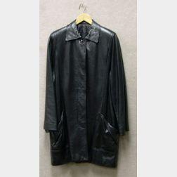 Italian Black Leather Three-quarter Length Coat