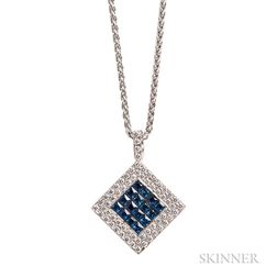 18kt White Gold, Diamond, and Sapphire Pendant