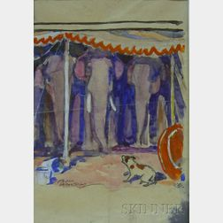 Unframed Watercolor, Gouache, and Ink on Paper Circus Scene with a Dog and      Elephant Tent by Paul Bransom (American, 1885-1979)