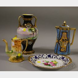 Four Pieces of Assorted Nippon Hand-painted Porcelain