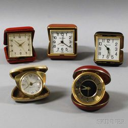 Five Cased Traveling Alarm Clocks