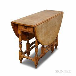William and Mary-style Turned Maple Gate-leg Table