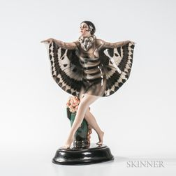 "Joseph Lorenzl for Goldscheider Ceramic  Sculpture""Butterfly Girl,"""