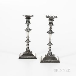 Near Pair of George III Sterling Silver Candlesticks