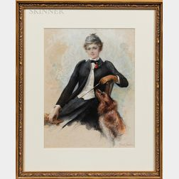 Frank Fowler (American, 1852-1910)      Equestrian with a Dog