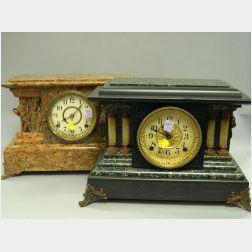 Two Seth Thomas Victorian Faux Marble Mantel Clocks.